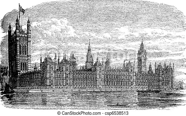 Palace of Westminster or Houses of Parliament in London England vintage engraving - csp6538513