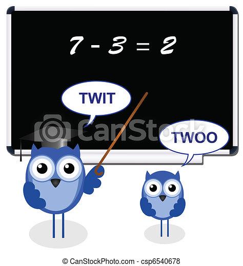 Owl teacher with pupil  - csp6540678