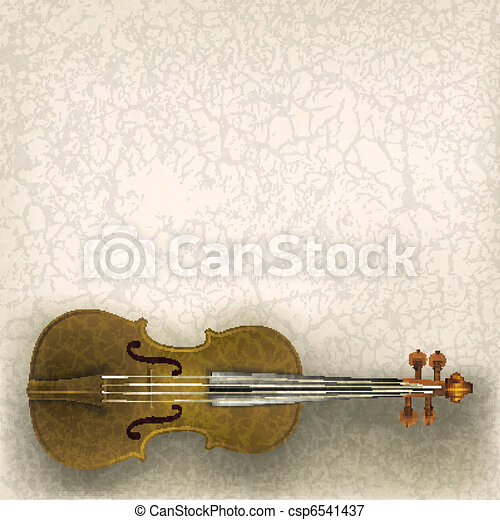 abstract grunge music background with violin - csp6541437