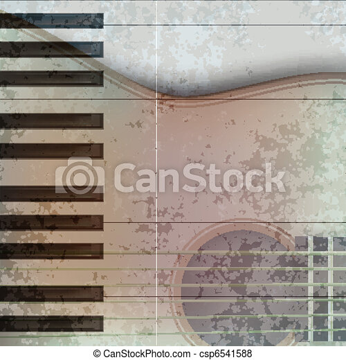abstract music grunge background acoustic guitar and piano - csp6541588
