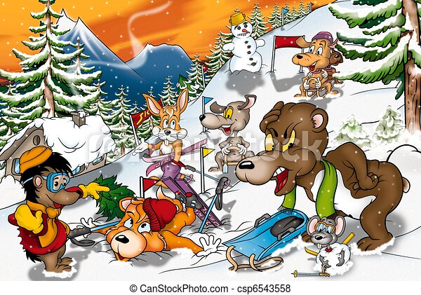 Stock Illustration of Animals in Winter