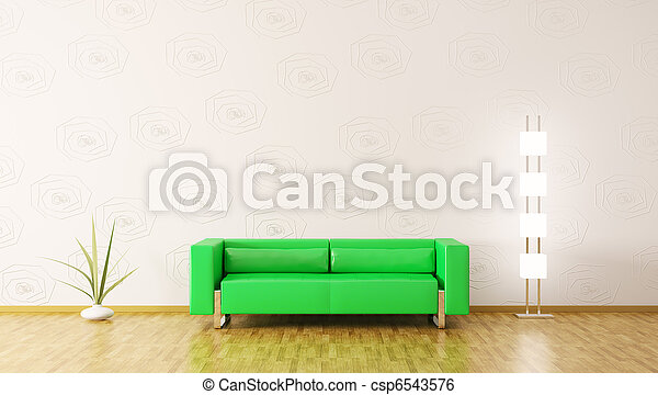 Modern interior of room 3d render - csp6543576
