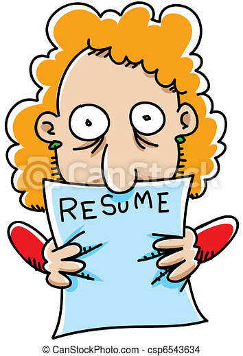 drawing of resume grip a cartoon woman grasps her resume