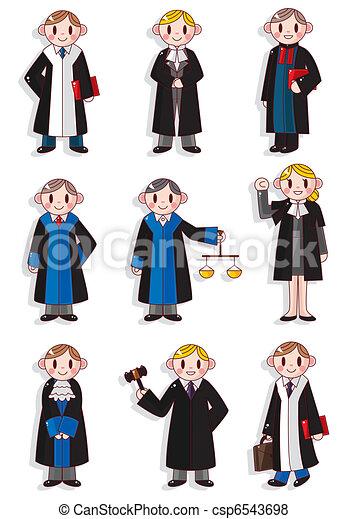 cartoon Judge icon set  - csp6543698