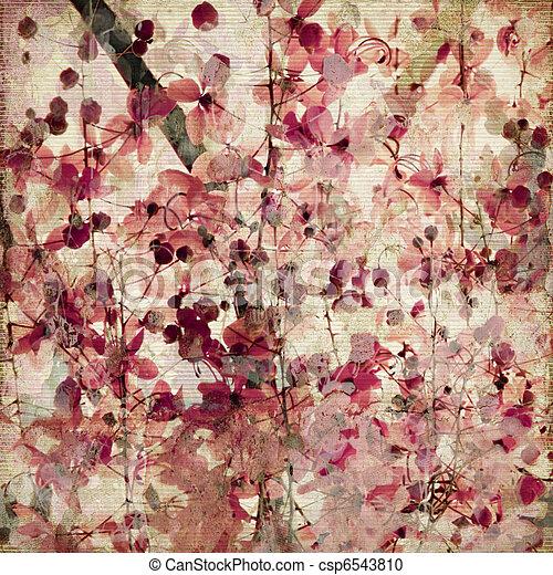 ピンク, 骨董品, グランジ, 花, 背景, 竹 - csp6543810