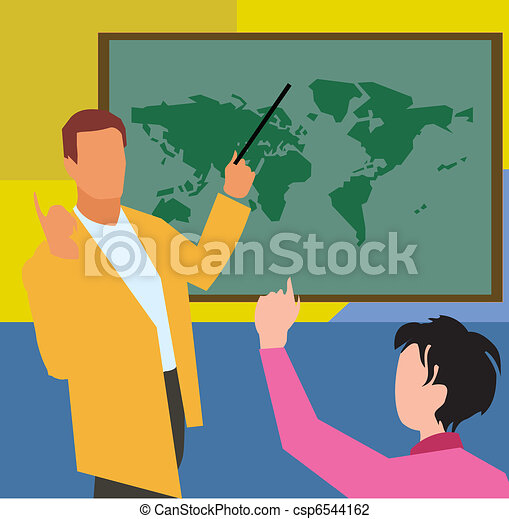 Teacher showing world map to student in geography class   - csp6544162