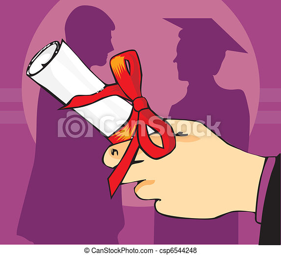 Close up view of a hand holding graduation degree  - csp6544248