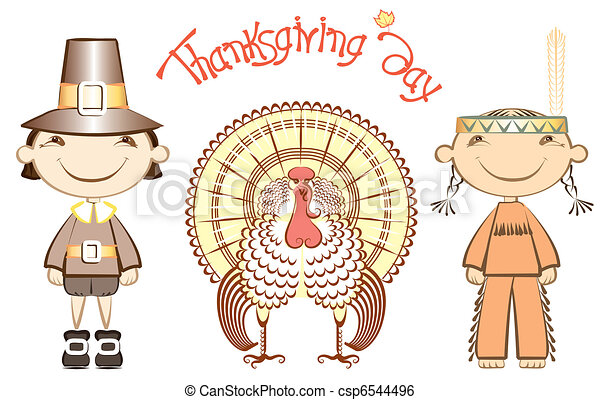 Thanksgiving background .Vector postcard with turkey - csp6544496