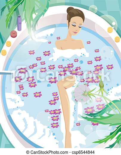 Young woman having aromatherapy bath - csp6544844