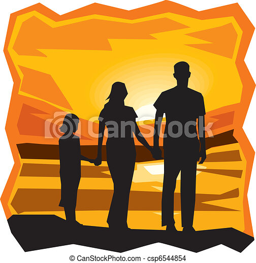 Rear view of family standing by the sea at sunset - csp6544854