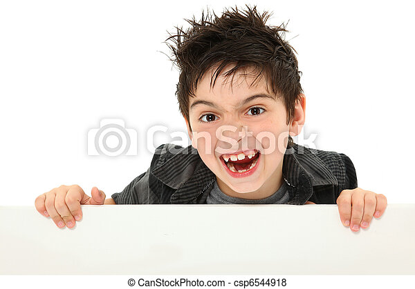 Silly Face Boy Child Holding Blank Canvas over White - csp6544918
