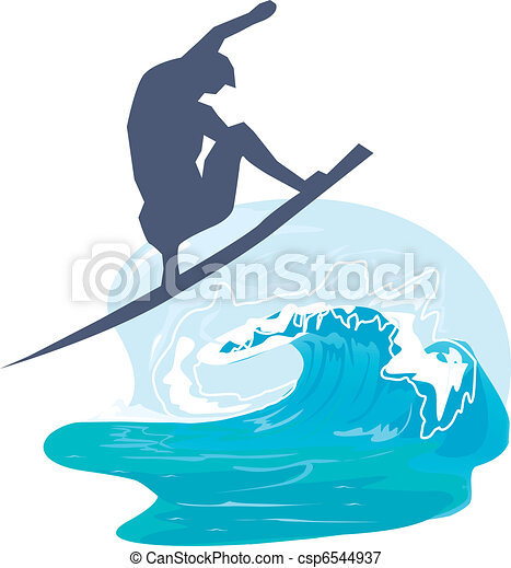 Silhouette of a person surfing in the sea  - csp6544937