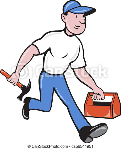 carpenter tradesman worker hammer and toolbox walking - csp6544951