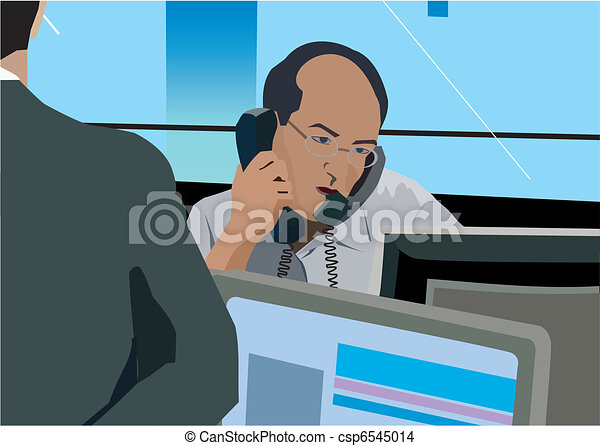 Businessman on phone at desk - csp6545014