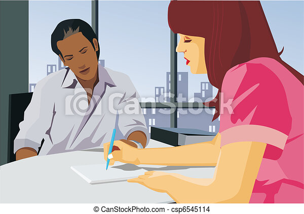 negócio, pessoas, trabalhando, junto, escritório - csp6545114