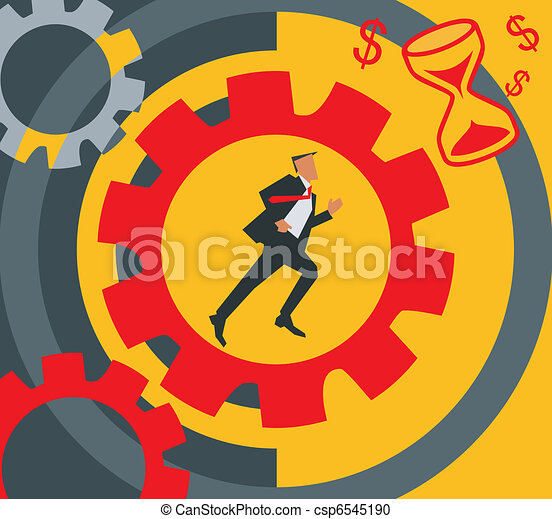 Side view of businessman running near cogwheels - csp6545190