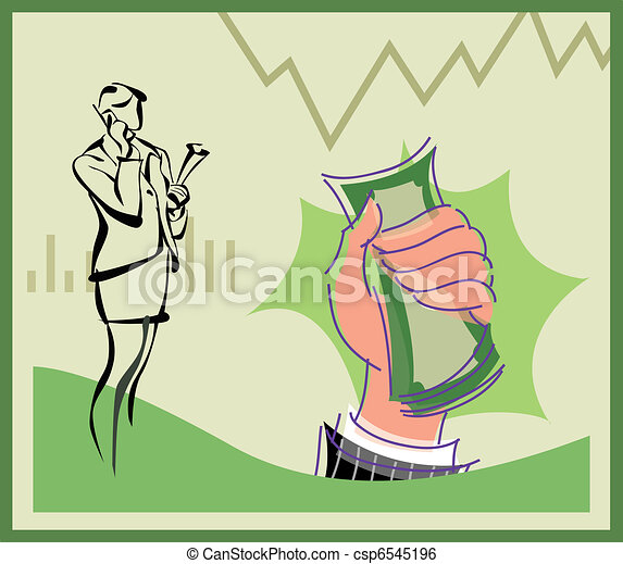 Businesswoman talking on cell phone and hand holding money - csp6545196