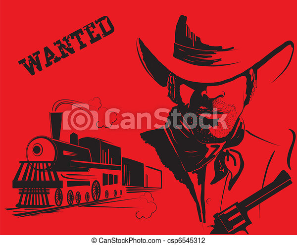 Vector cowboy and train. Western bandit life - csp6545312