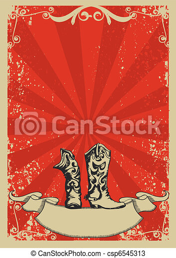 Cowboy boots.Red background with grunge elements decorationl .Retro image for text - csp6545313