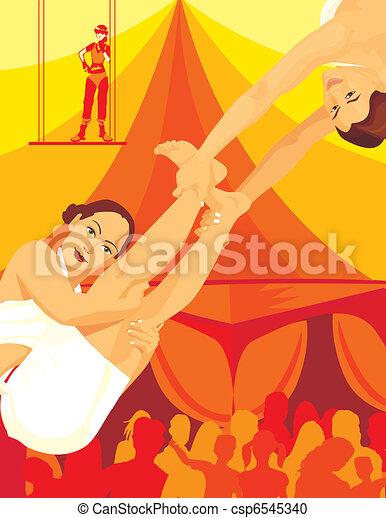 Acrobats performing in circus - csp6545340