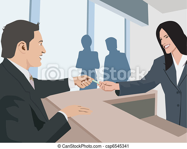 Side view of business people at workplace - csp6545341