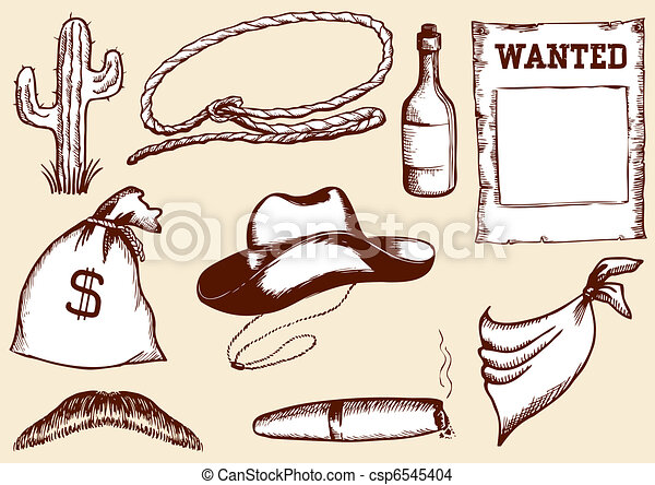 Vector cowboy elements for design - csp6545404