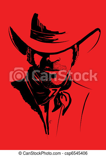 Vector portrait of cowboy on red.Strong man in cowboy hat - csp6545406