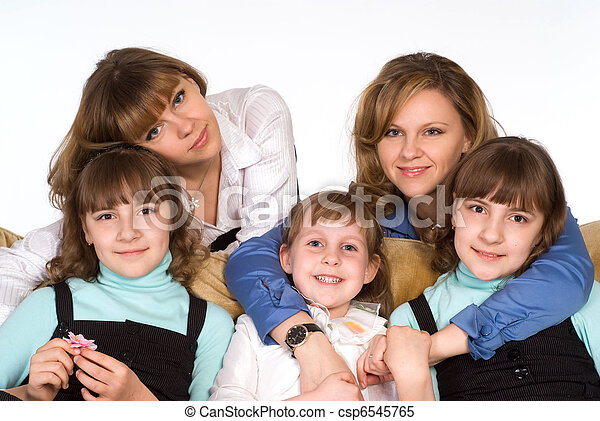 Happy relatives on sofa - csp6545765