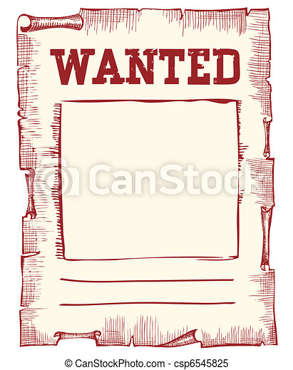 Vector wanted poster image on white - csp6545825