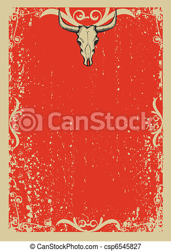Cowboy old papaer background for text with bull skull .Retro image for text - csp6545827