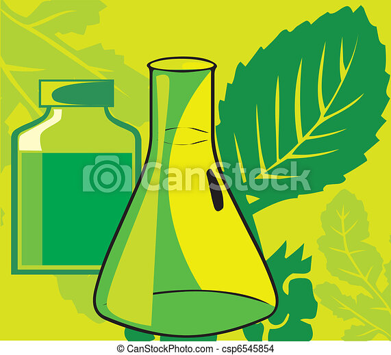 Close-up view of a beaker; jar and leaf - csp6545854