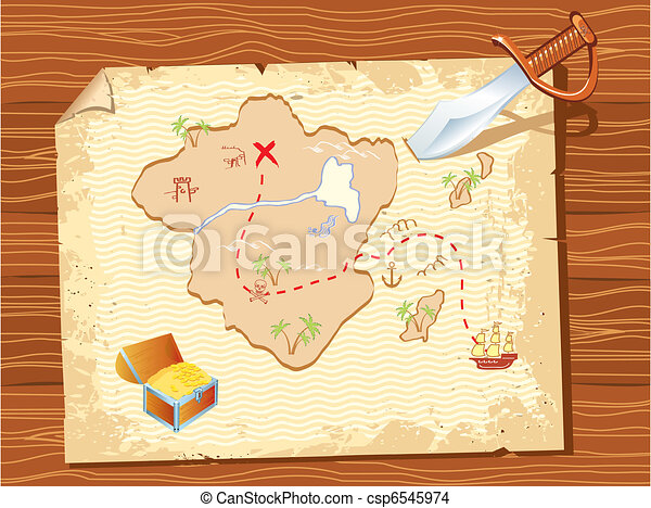 Old parchment with pirate map and dagger- vector illustration. - csp6545974