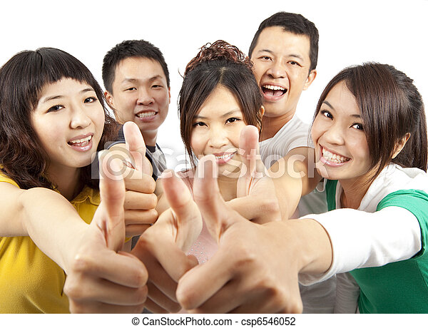 young asian Group people with thumbs up - csp6546052