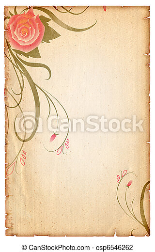 Floral vintagel background.Old paper scroll with pink rose - csp6546262