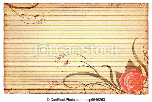 Floral vintagel background.Old paper scroll with pink rose