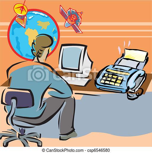 Stock de Ilustration de oficina, trabajando, computadora ...