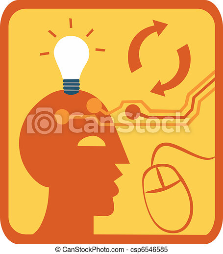 Close-up of lightbulb above head with computer mouse - csp6546585