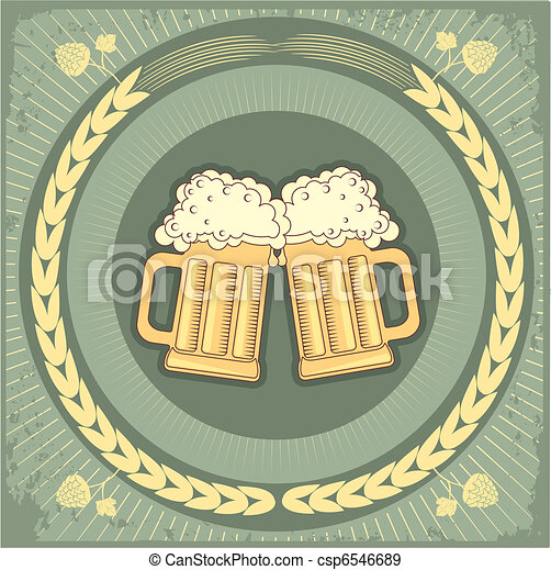 Beer background.Vector grunge Illustration for text - csp6546689