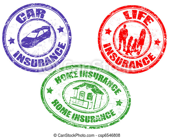 Car, life and home insurance stamps - csp6546808