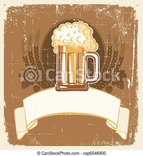 Beer background.Vector grunge Illustration for text - csp6546900