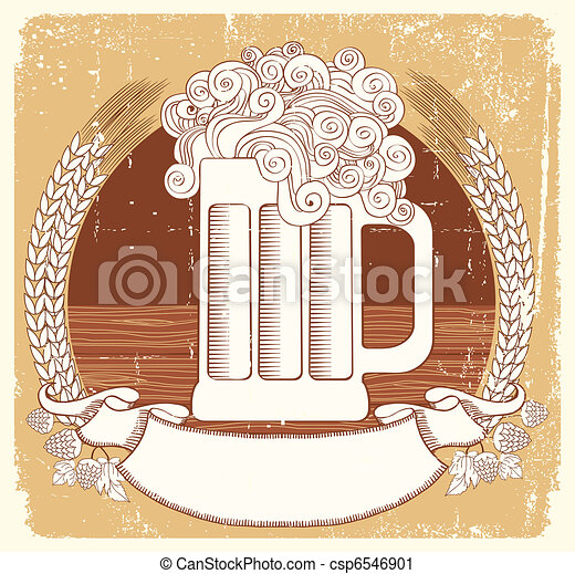 Beer symbol.Vector vintage graphic  Illustration of glass with scroll for text - csp6546901