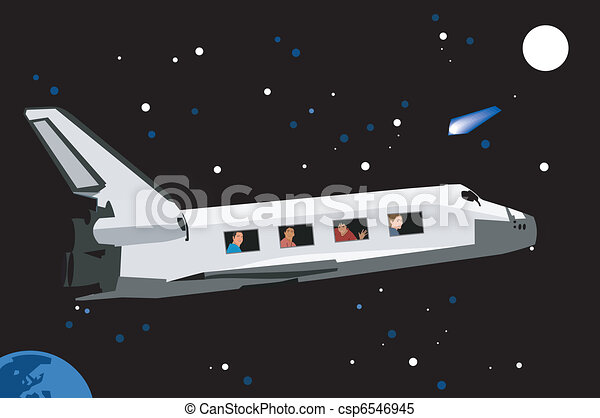 People traveling by space shuttle - csp6546945
