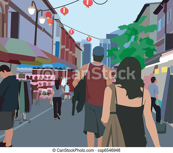 Stock Illustration of Rear view of people walking in the ...