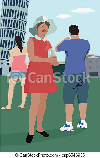 Tourists standing at Leaning Tower of Pisa; Tuscany Italy - csp6546955