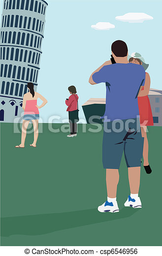 Tourists standing at Leaning Tower of Pisa; Tuscany Italy - csp6546956