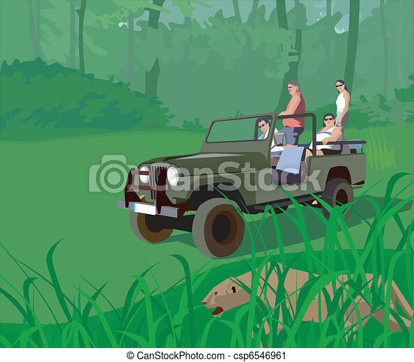 Tourists in safari vehicle looking at tiger - csp6546961