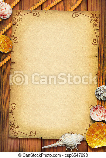 Old paper texture with sea shells and rope for text.Vintage - csp6547298