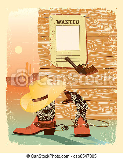 Cowboy West life. Special shoes and gun for cowboy.Grunge western poster - csp6547305