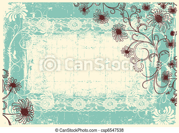 Vintage floral background with grunge decor frame for text - csp6547538
