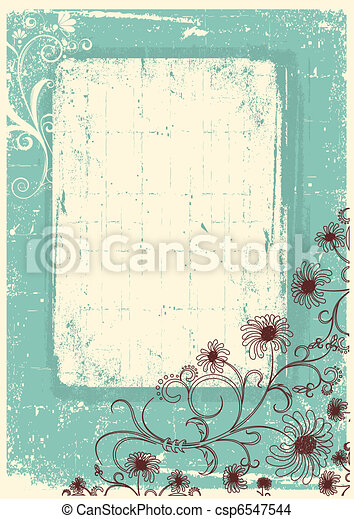 Vintage floral background with grunge decor frame for text - csp6547544